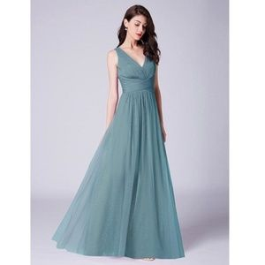 Dusty Blue A line V neck Long Tulle Pleated Bodice